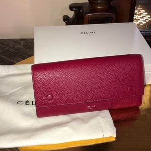 Large Red Celine Continental Wallet